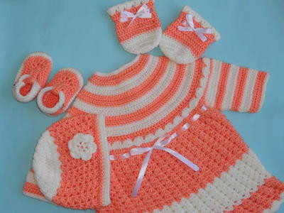 Crochet Baby Dress Hat and Mittens