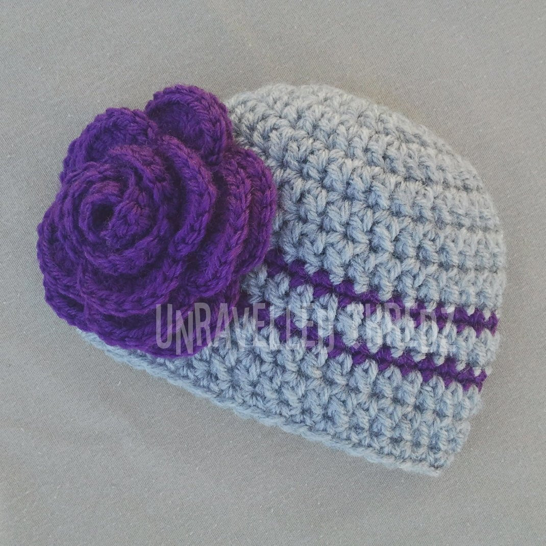 Crochet Baby Girl Hat with Flower Newborn graphy Prop