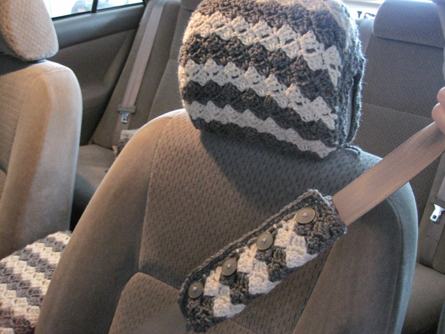 Best Of Crochet Car Front Seat Headrest Cover Grey Heather Aran Crochet Seat Cover Of Beautiful Crochet Car Front Seat Cover Aran Grey Heather Ccfsc1a Crochet Seat Cover