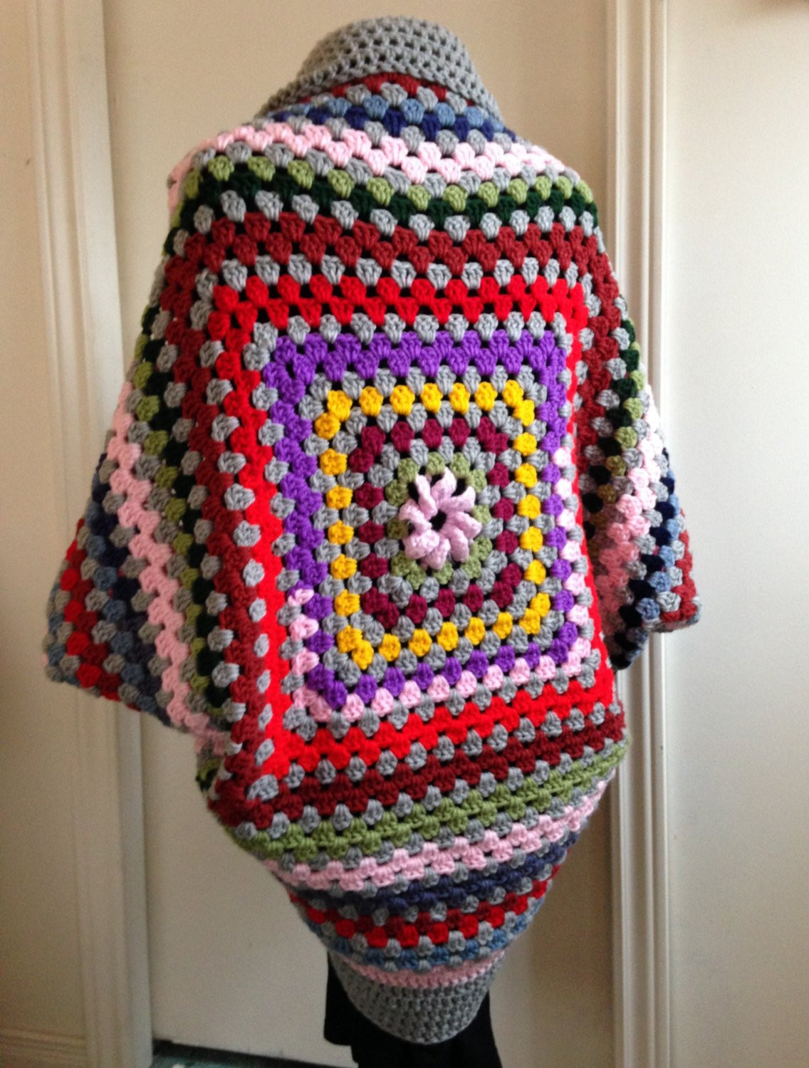 Best Of Crochet Granny Square Cocoon Sweater Cardigan Shrug In Grey Granny Square Cardigan Of Innovative 50 Pics Granny Square Cardigan