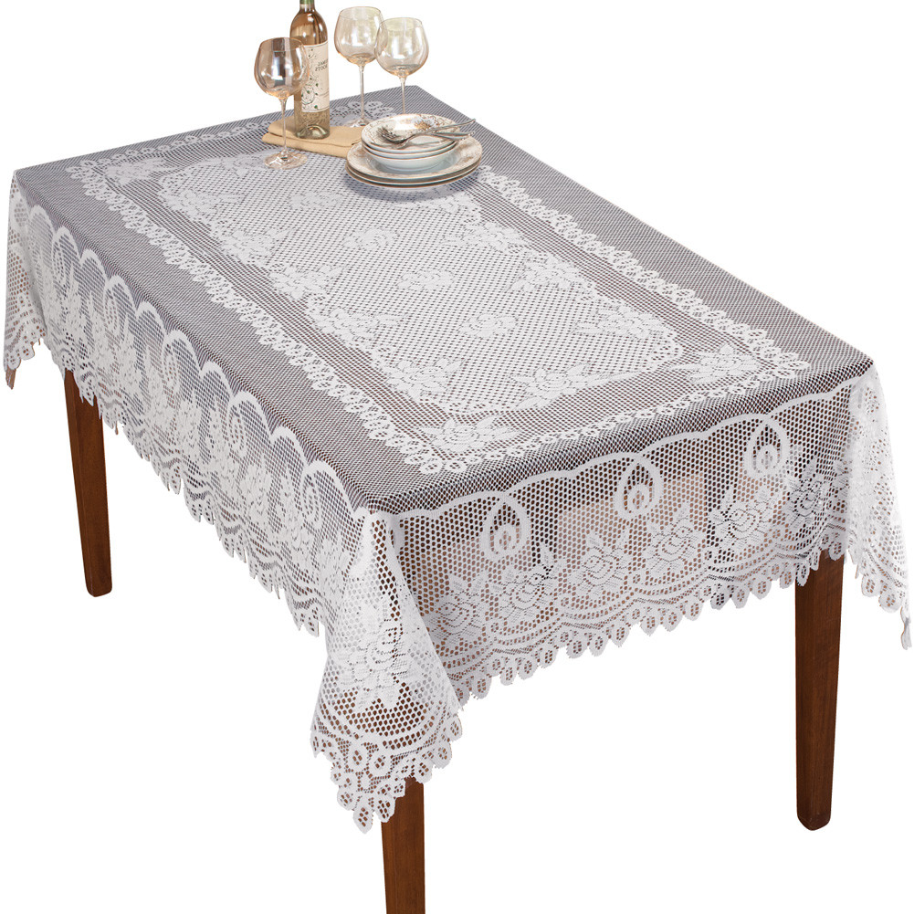 Crochet Lace Floral Tablecloth by Collections Etc