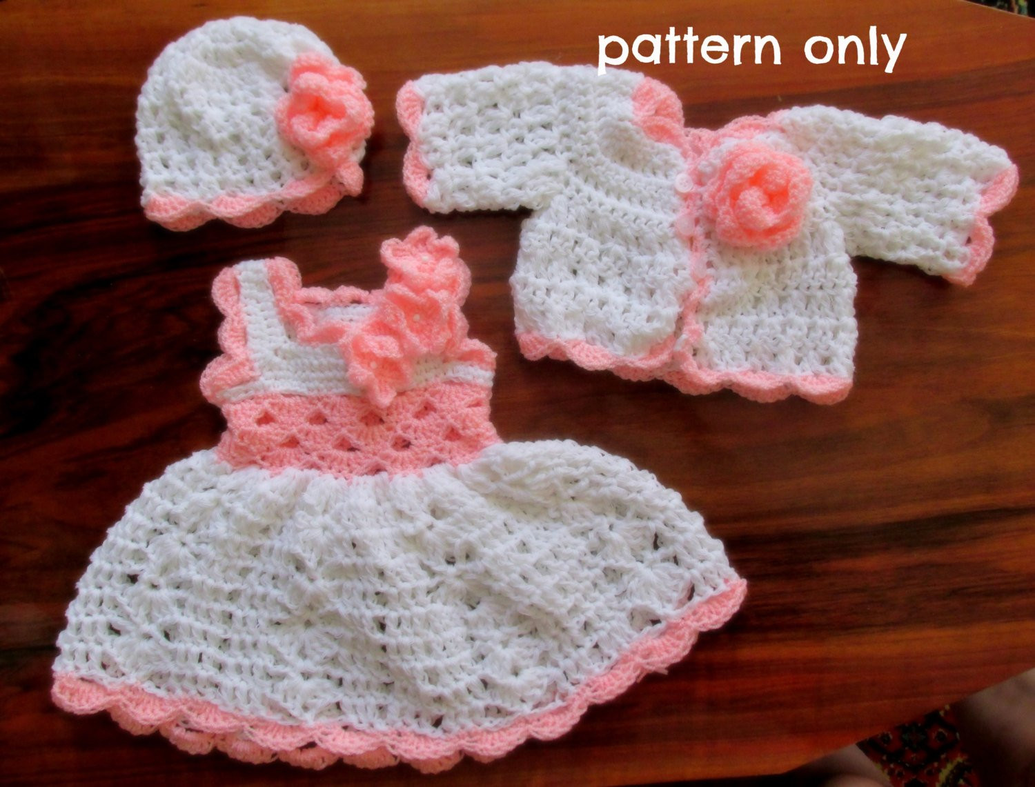 Crochet pattern pdf baby dress pattern newborn crochet