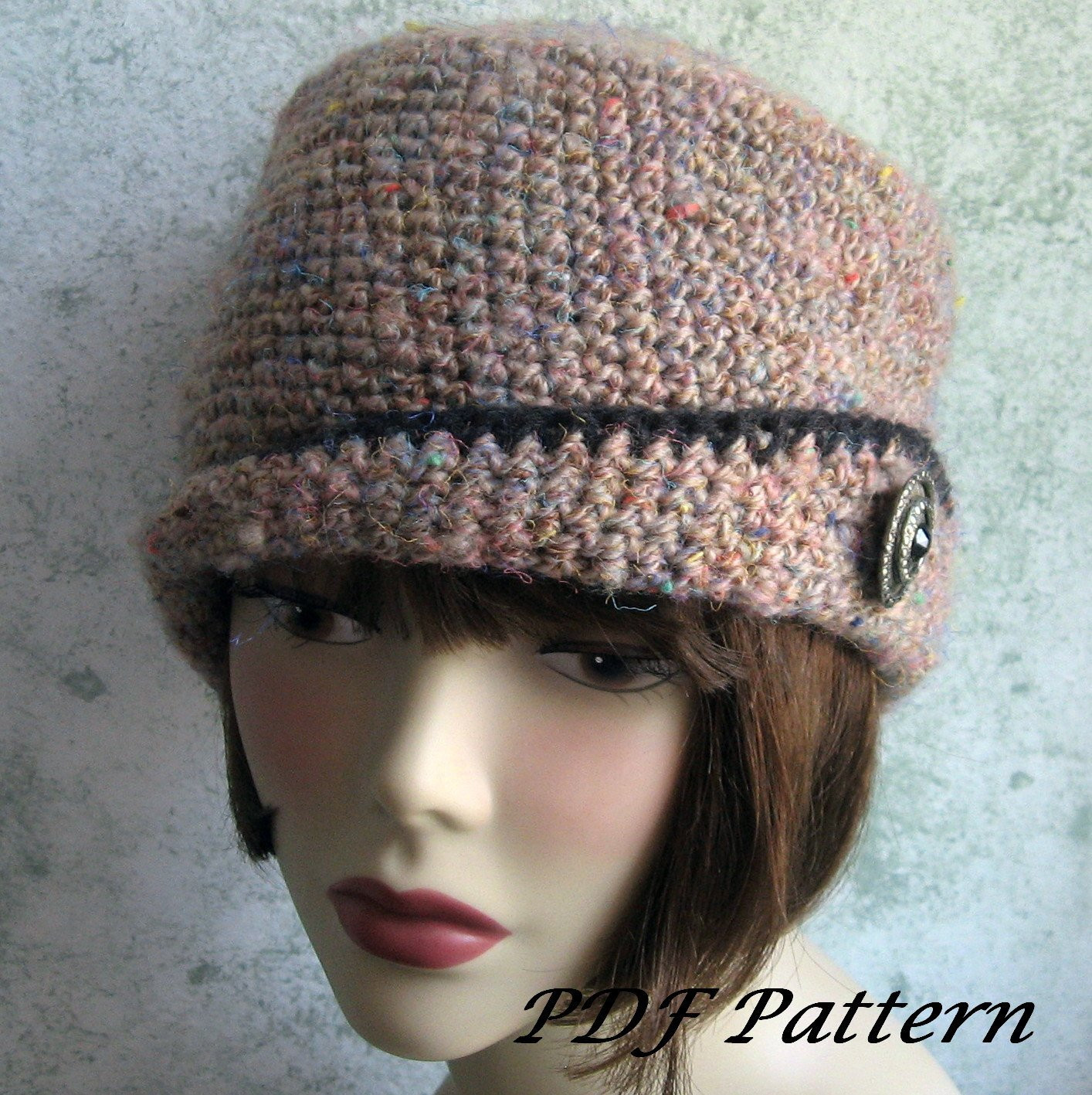 Crochet Pattern Womens Crocheted Hat With Close Fitted Brim