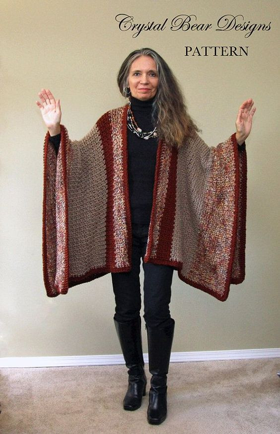 Crochet Ruana Blanket Poncho PATTERN Blanket Wrap Easy