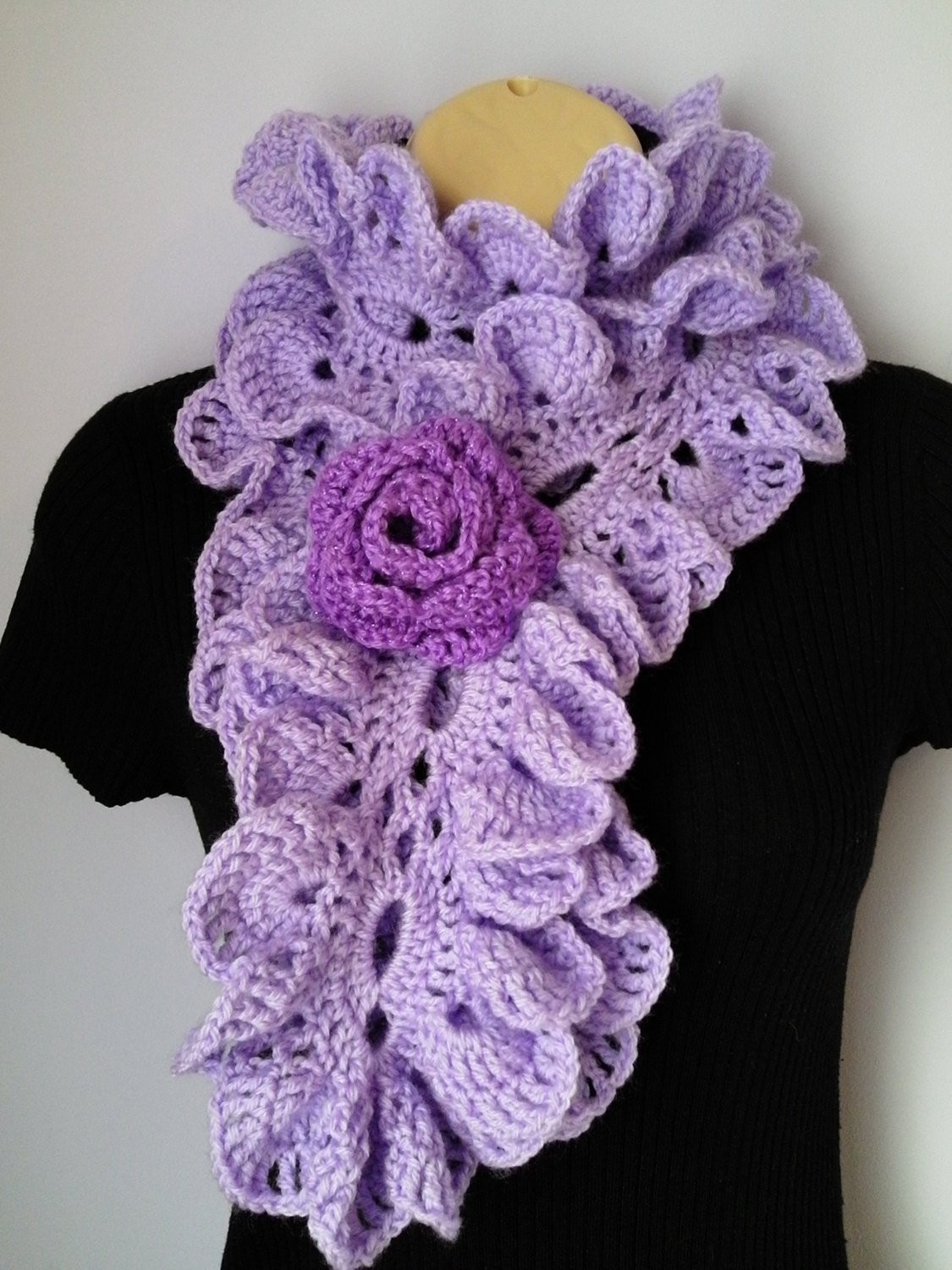 Best Of Crochet Scarf Neckwarmer Flower Brooch Ruffle Accessories Crochet Ruffle Scarf Of Lovely 41 Models Crochet Ruffle Scarf