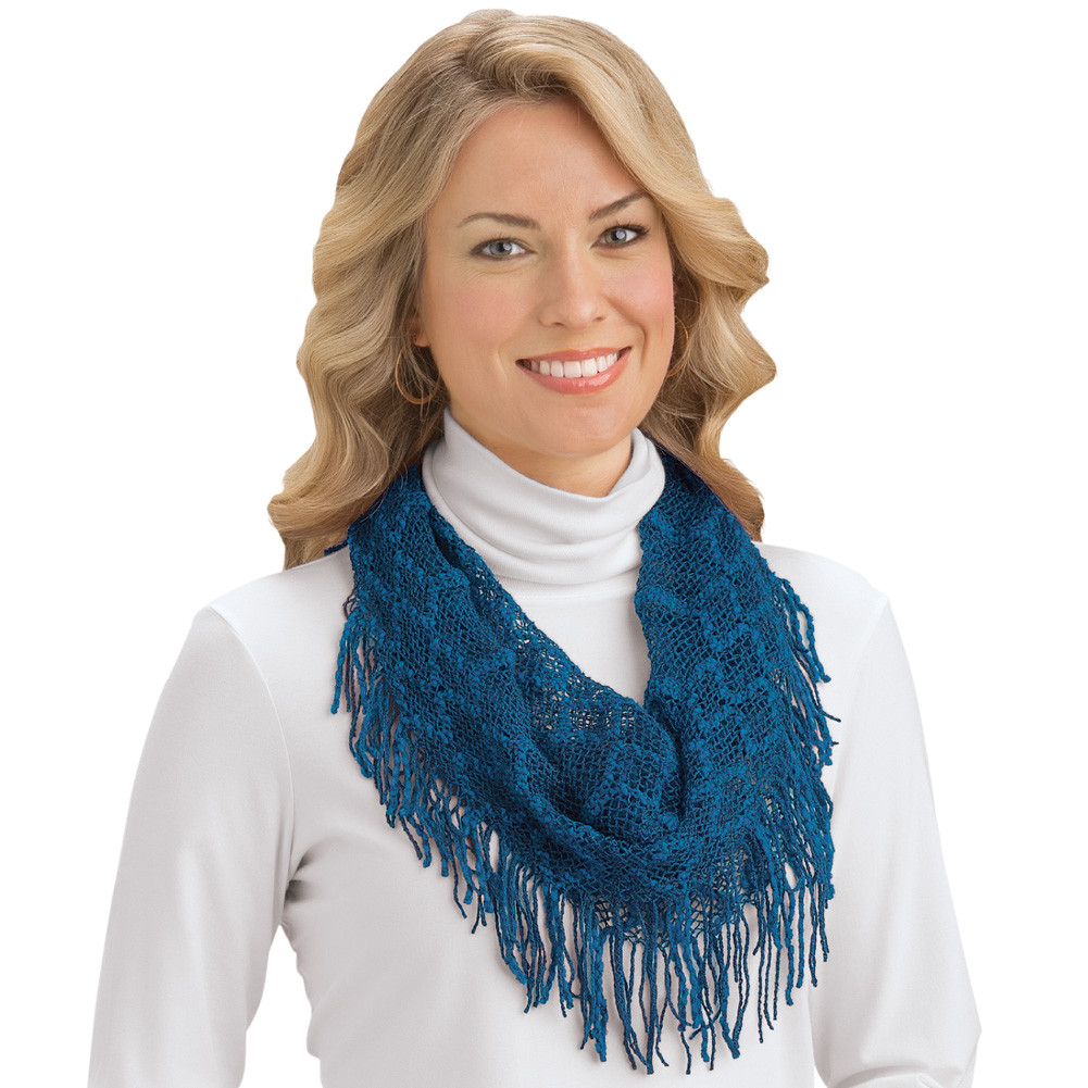 Best Of Crochet Tassel Fringe Infinity Scarf by Collections Etc Scarf Fringe Of Innovative 50 Pics Scarf Fringe