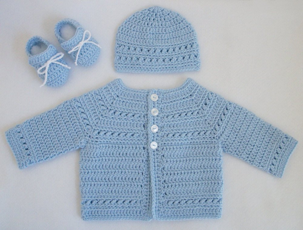 Crocheted Baby Boy Sweater Hat Booties Set in Pale Blue 0M 3M