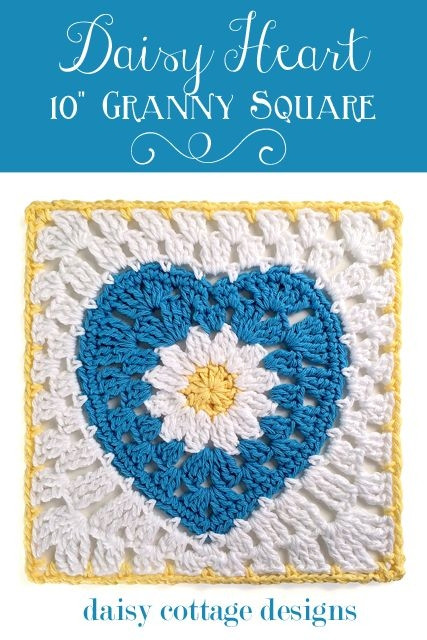 """Best Of Daisy Heart 10"""" Granny Square Motif by Lauren Free Heart Granny Square Of Brilliant 41 Pictures Heart Granny Square"""