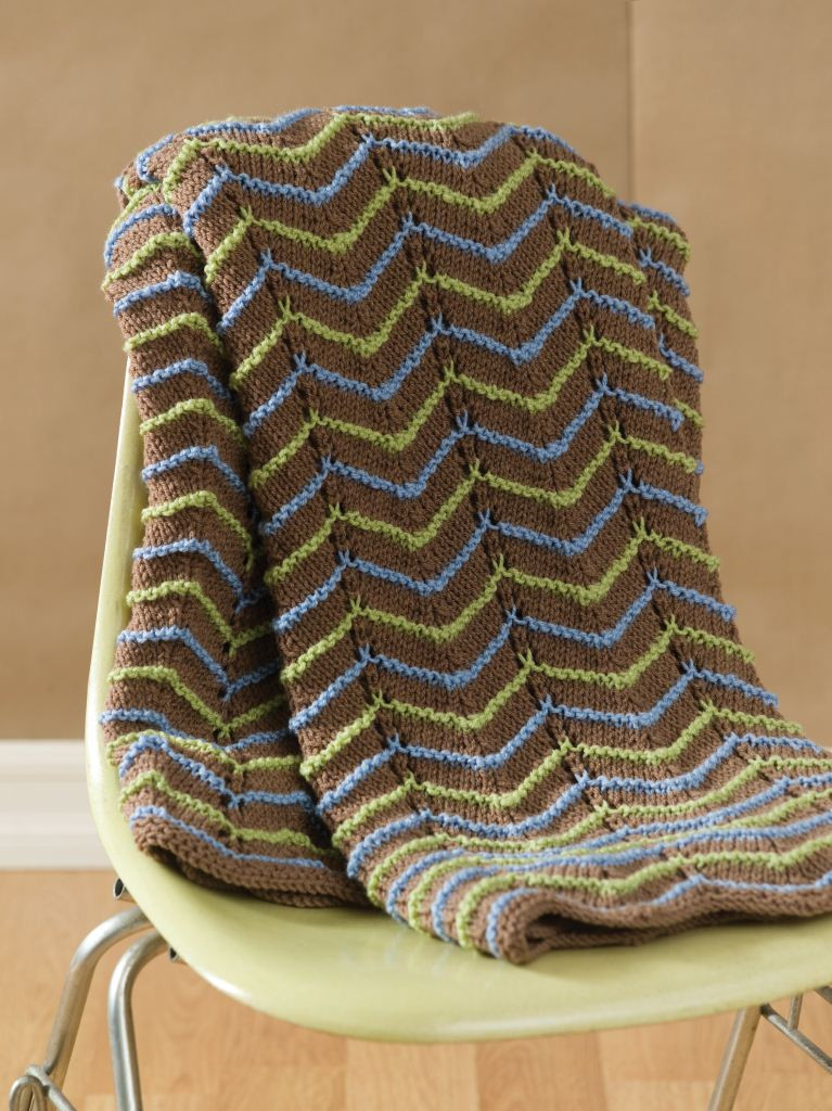 Earth tone Knit Afghan from Red Heart Yarn