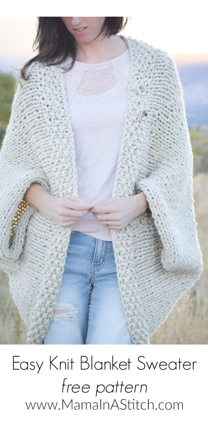 Best Of Easy Knit Blanket Sweater Pattern Via Mamainastitch This Free Easy Knitting Patterns Of Gorgeous 46 Models Free Easy Knitting Patterns
