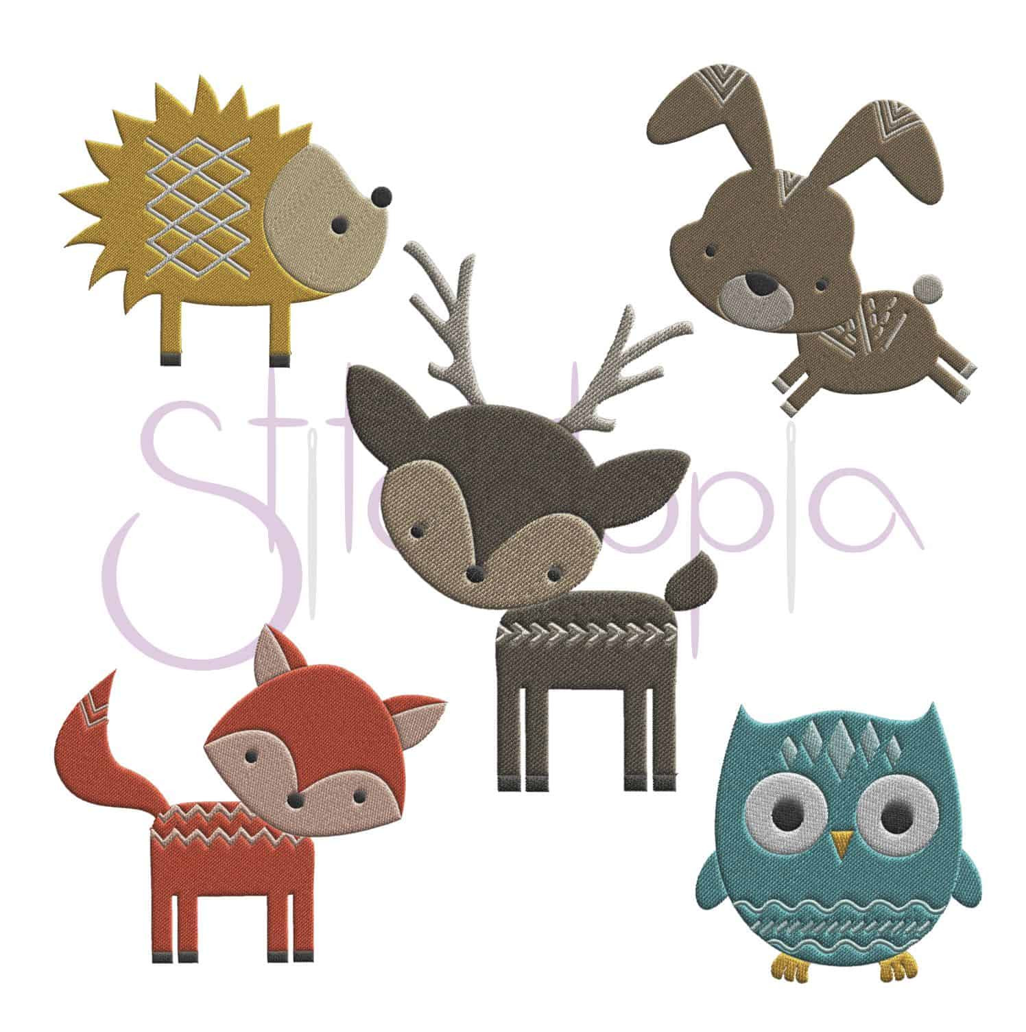 Forest Animals Embroidery Design Set