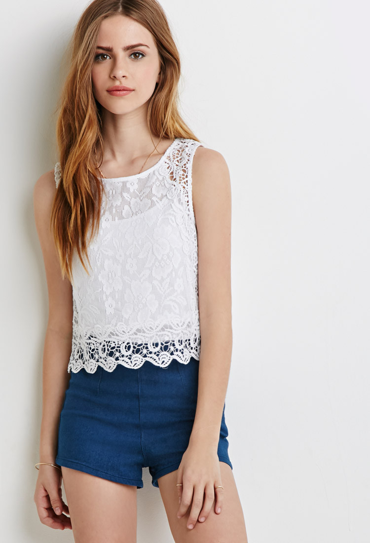 Best Of forever 21 Crochet Trimmed Lace top In White Crochet tops forever 21 Of Beautiful forever 21 Scalloped Crochet top In Beige Cream Crochet tops forever 21