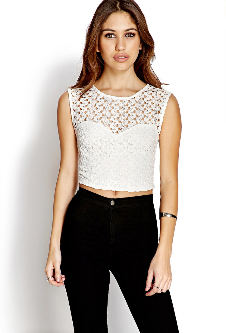 Best Of forever 21 Dainty Crochet Crop top In White Cream Crochet tops forever 21 Of Beautiful forever 21 Scalloped Crochet top In Beige Cream Crochet tops forever 21