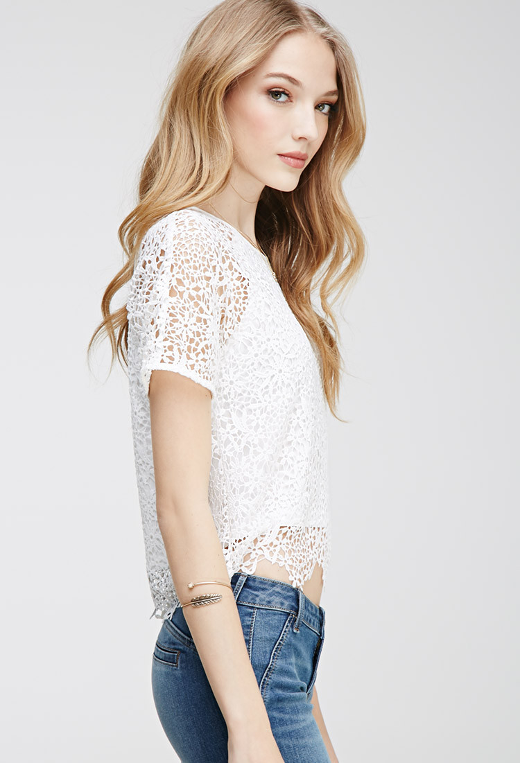 Best Of forever 21 Scalloped Floral Crochet top In White Crochet tops forever 21 Of Beautiful forever 21 Scalloped Crochet top In Beige Cream Crochet tops forever 21