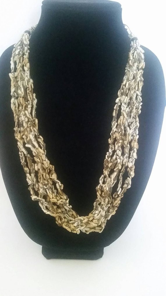 Best Of Gold and Black Multi Strand Hand Crocheted by Fancystitchings Black and Gold Yarn Of Superb 46 Images Black and Gold Yarn