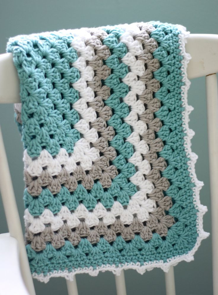 GORGEOUS COLOUR Modern Baby Blanket Granny Square Baby