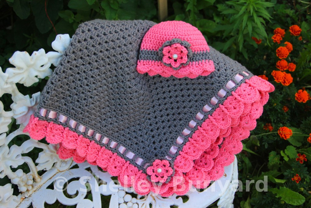 granny square and ribbon baby blanket crochet pattern