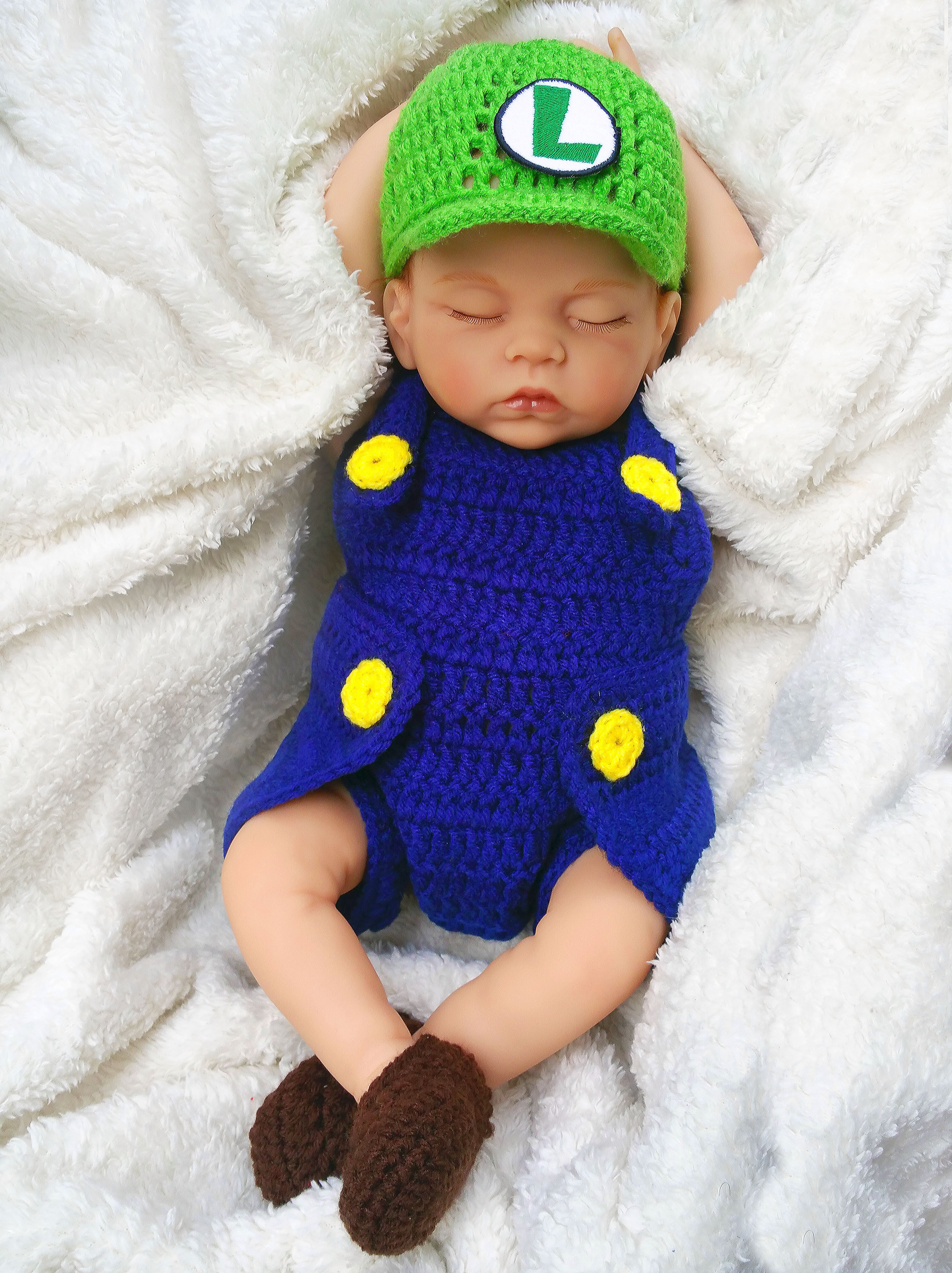 Green Plumber Brother Baby Prop Baby Crochet Outfit
