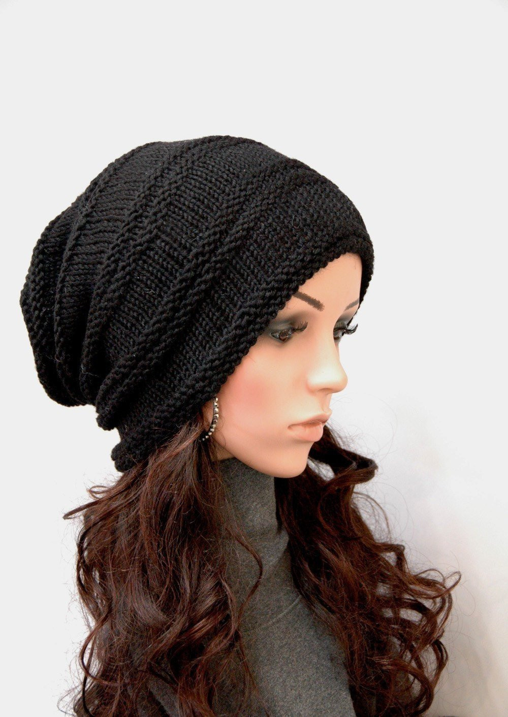 Hand Knit hat woman hat man hat Black Chunky Wool Hat Slouchy