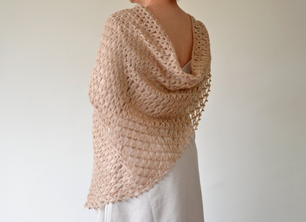 Best Of Handmade Beige Broomstick Lace Crochet Triangle Shawl Broomstick Crochet Of Amazing 44 Pics Broomstick Crochet