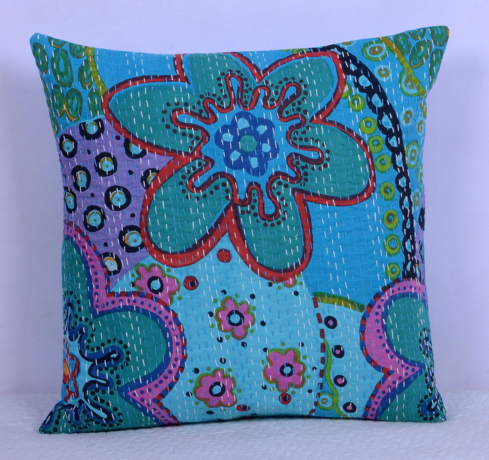 Best Of Handmade Throw Decorative Pillow Home Decor Kantha Floral Patterned Throw Of Amazing 40 Photos Patterned Throw