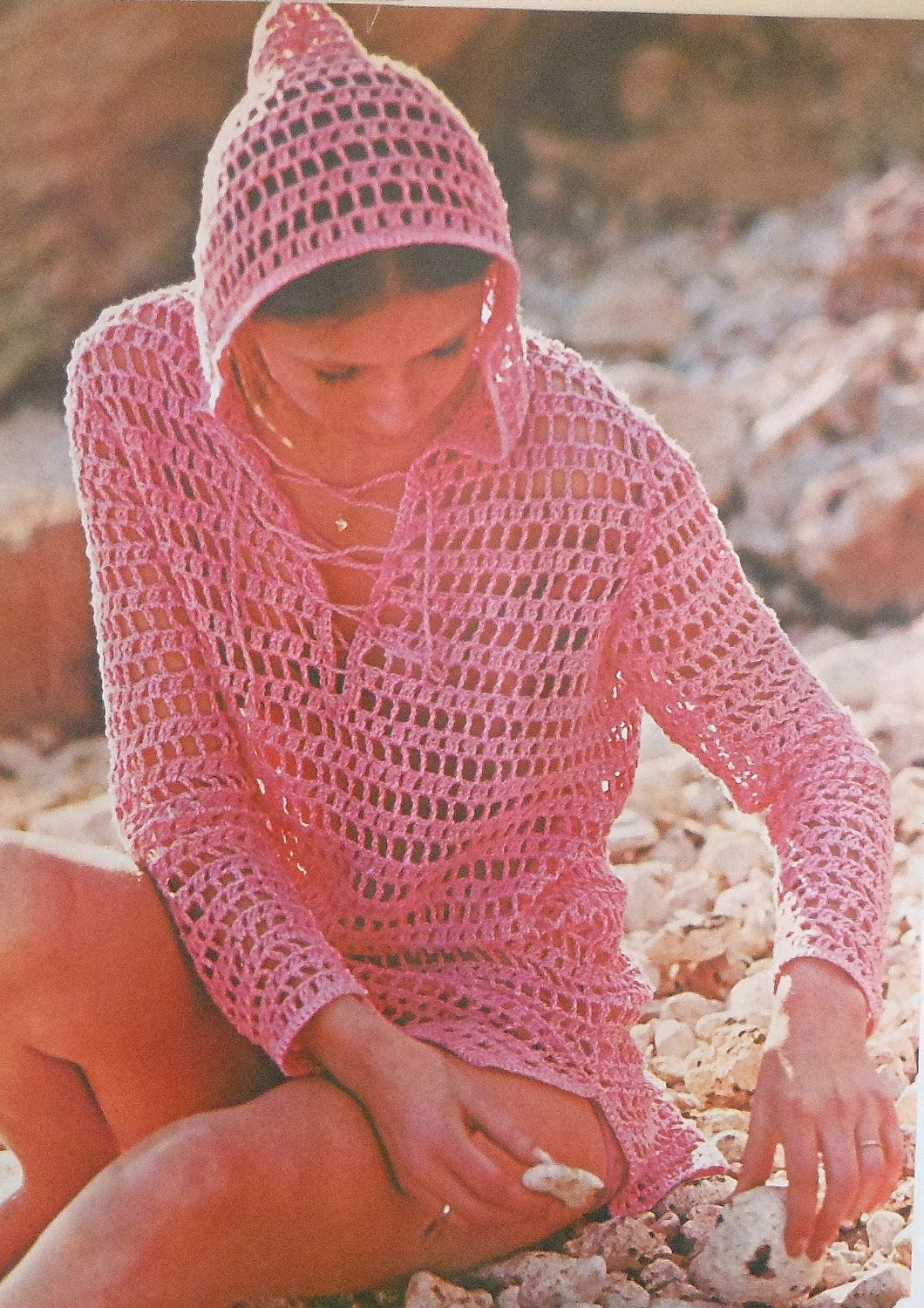 Hooded Beach Cover up Crochet Pattern Sizes 12 20