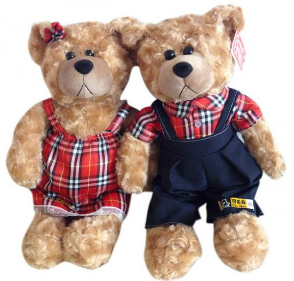 Hot sale soft and stuffed couple plush teddy bear toy with