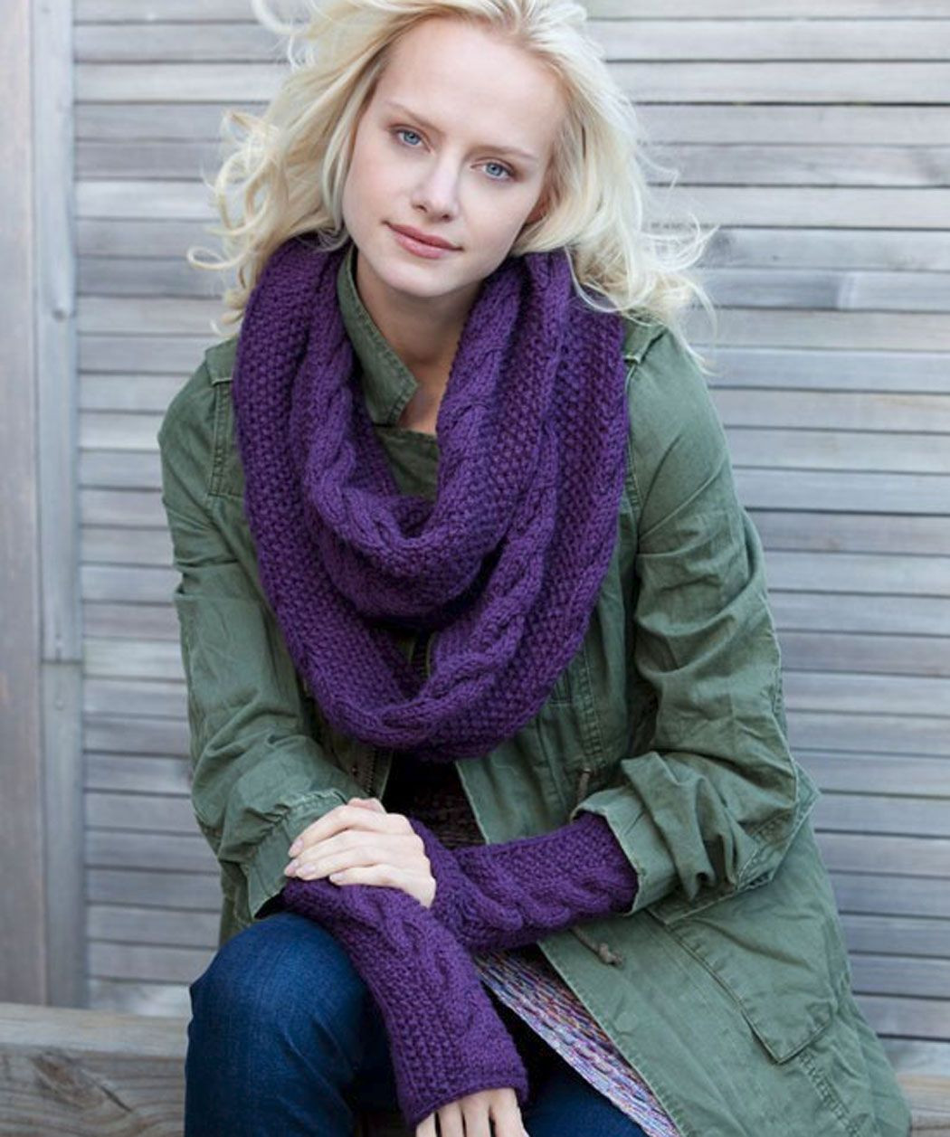 Infinity Trinity Cowl and Wristers Knitting Pattern Be the