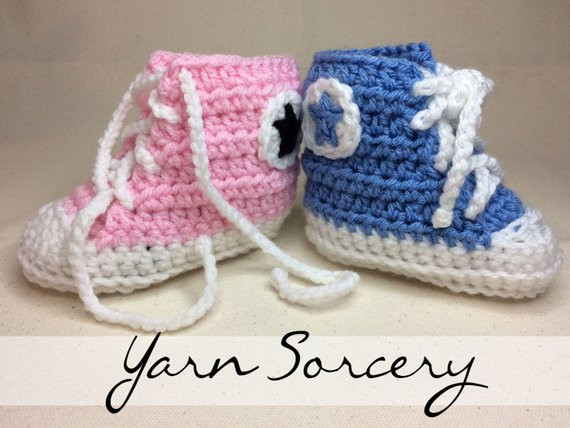 Best Of Items Similar to High top Sneaker Baby Booties Crochet Crochet Converse Baby Booties Of Wonderful 41 Models Crochet Converse Baby Booties