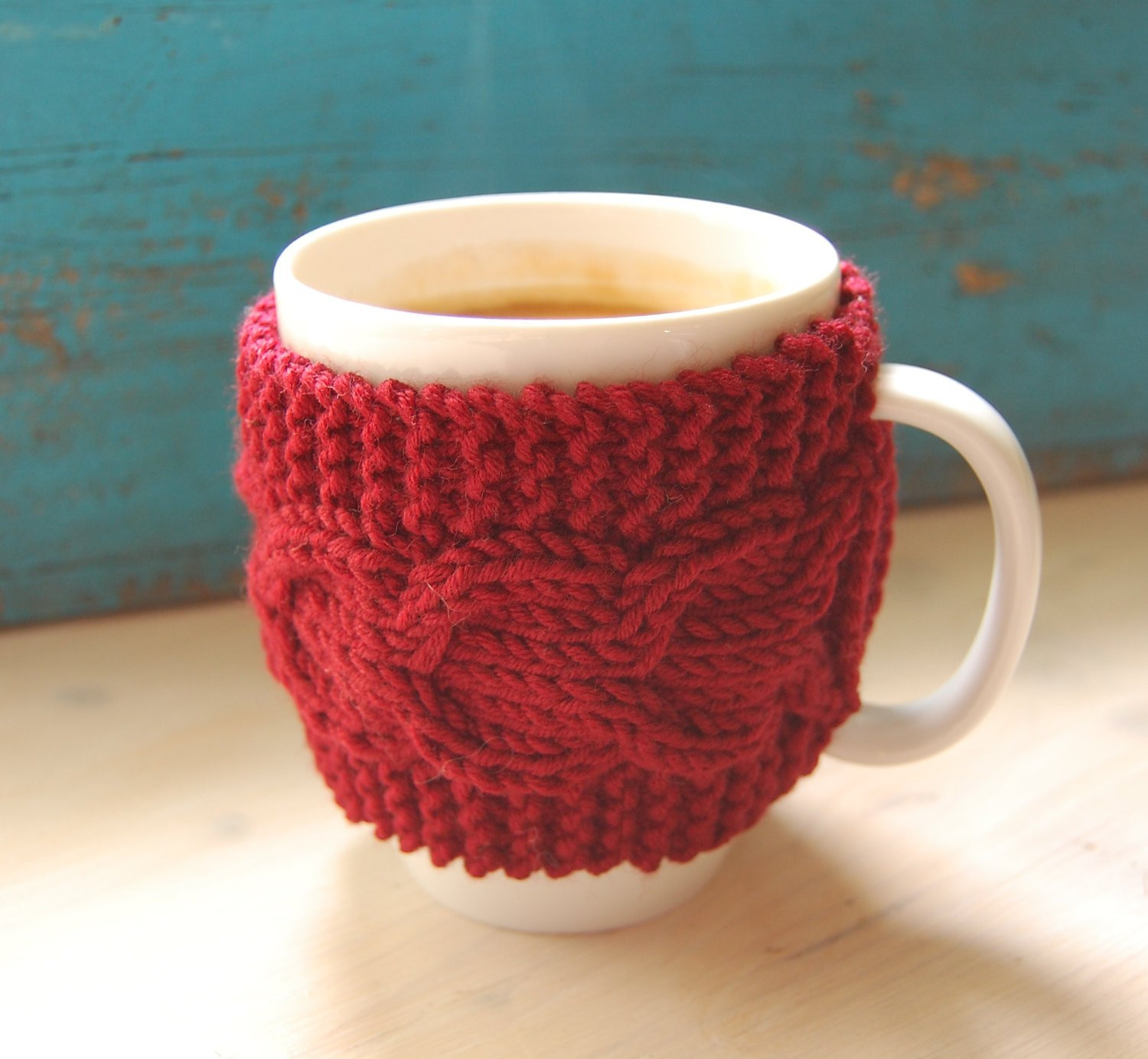 Best Of Items Similar to Knit Coffee Mug Cozy with Cable Pattern Knitted Mug Cozy Of Unique 48 Photos Knitted Mug Cozy