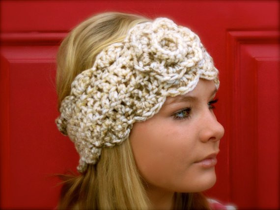 Best Of Items Similar to Oatmeal Headwarmer with Flower Crochet Head Warmer Of Fresh 39 Photos Crochet Head Warmer