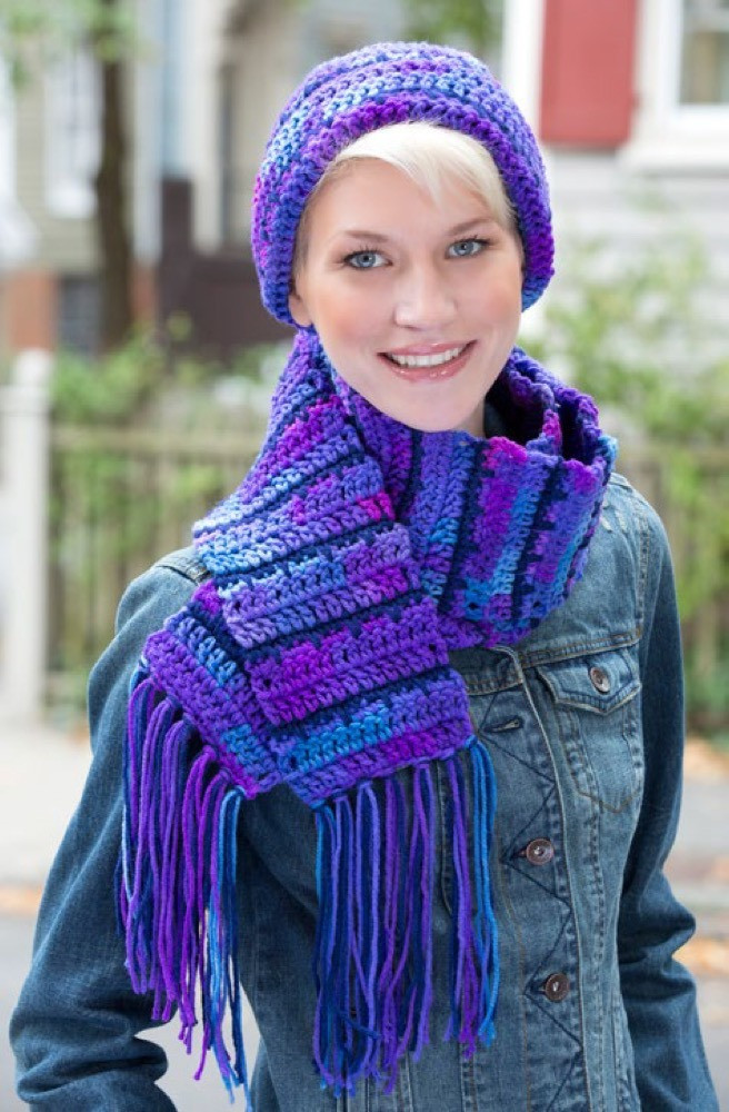 Best Of Jagged Lines Hat & Scarf Set In Red Heart Super Saver Crochet Hat and Scarf Set Of Amazing 44 Models Crochet Hat and Scarf Set