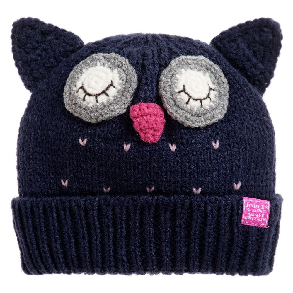 Joules Blue Knitted Owl Hat