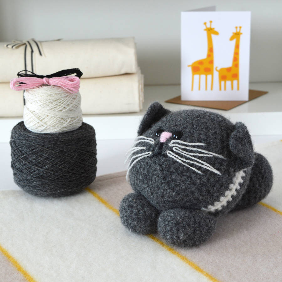 kitten learn to crochet kit by warm pixie diy