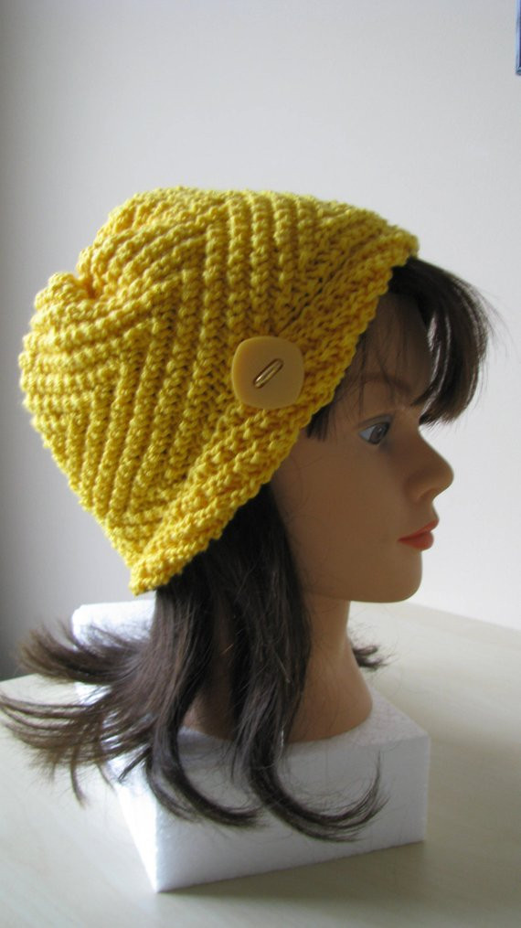 Best Of Knit Hat or Chemo Hat Hand Knit Womens Hat In Yellow Cotton Knitted Chemo Hats Of Incredible 50 Models Knitted Chemo Hats