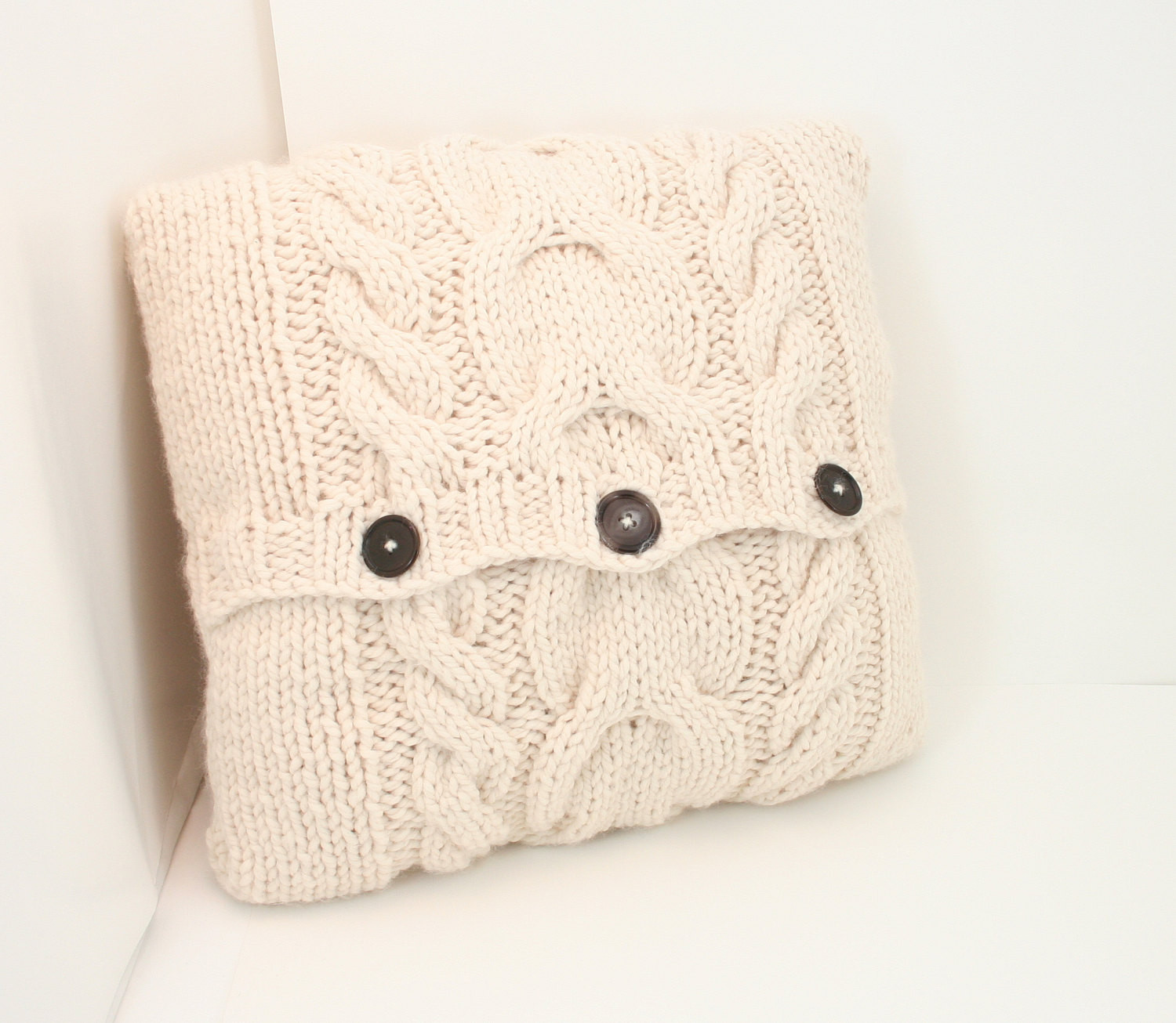 Knit Pillow Cover Pattern Cabled Pillow Cover