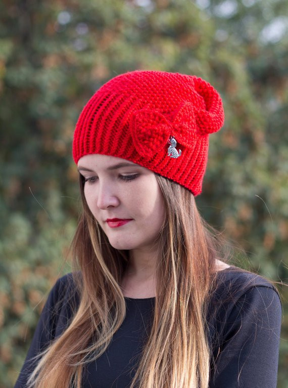 Best Of Knit Woman Beanie Red Slouchy Hat Hand Knitted Women Hat Red Red Slouchy Beanie Of New 50 Models Red Slouchy Beanie