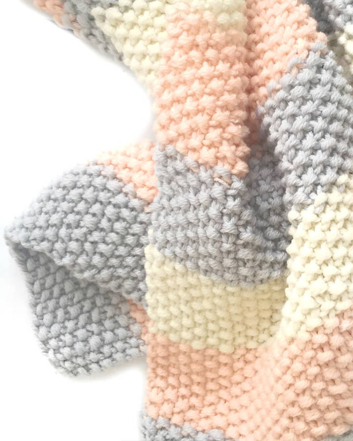 knit your own baby's classic blanket knit kit by stitch
