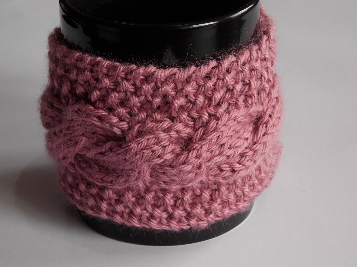 knitted cabled coffee cuff mug cup cozy by SewCuteQuiltAndKnit