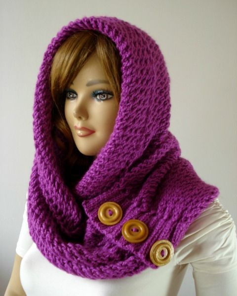 Knitting Hood Cowl Scarf with buttons Loulou Kiss