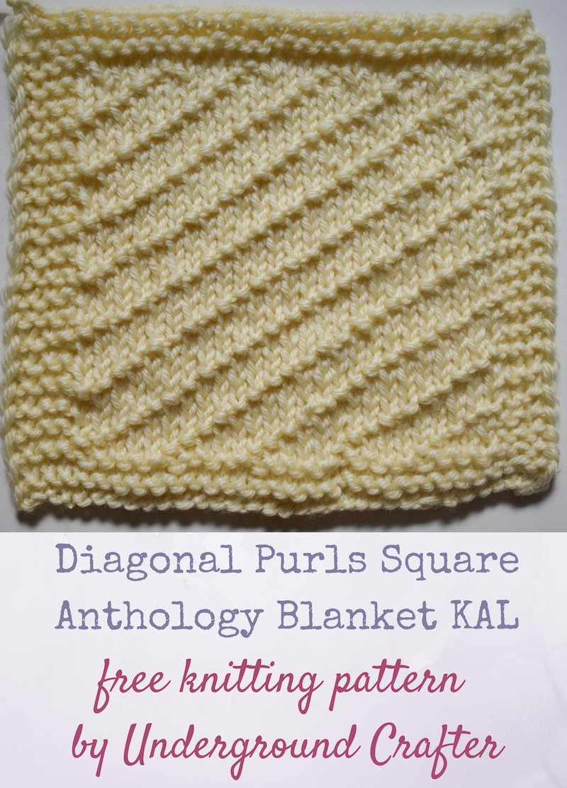 Knitting Pattern Diagonal Purls Square