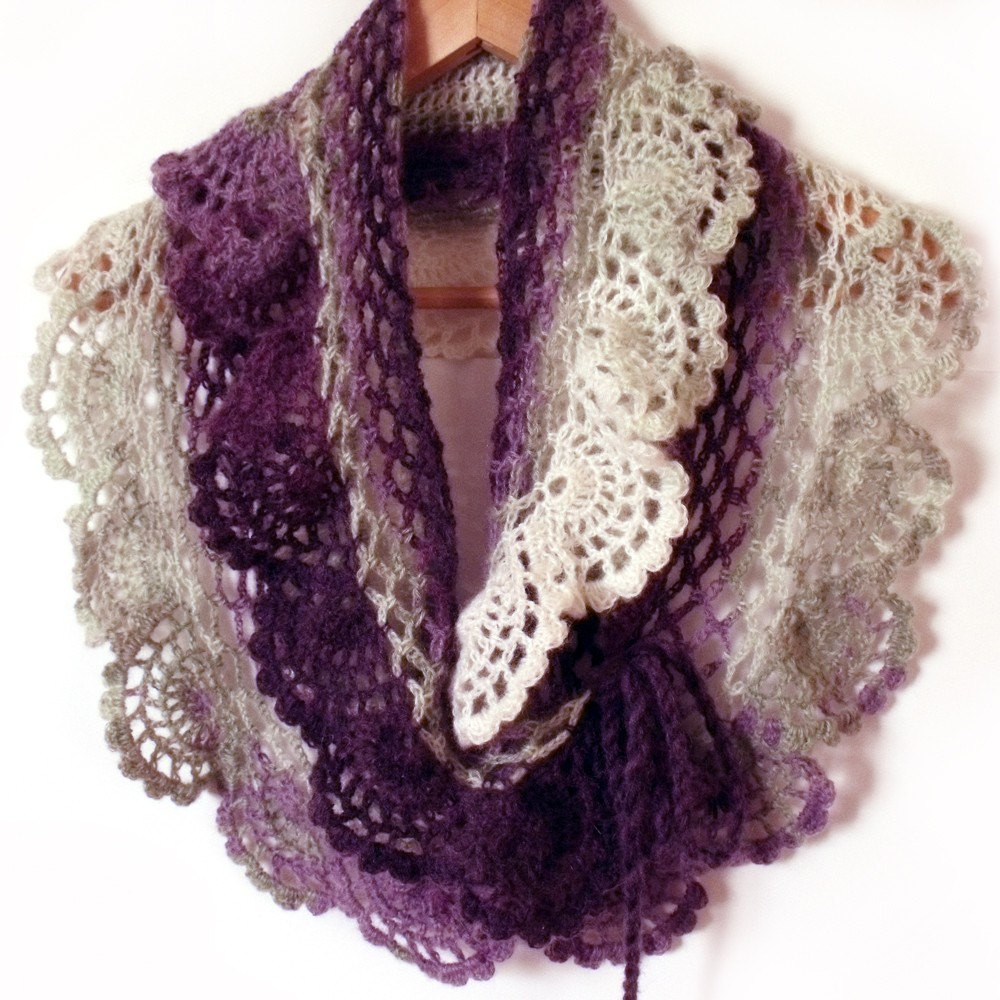 Best Of Lace Crochet Scarf Ruffle Capelet Prayer Shawl Purple White Crochet Lace Scarf Of Incredible 41 Models Crochet Lace Scarf