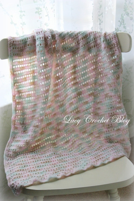 Lacy Crochet Natural Girl Simple Baby Blanket in