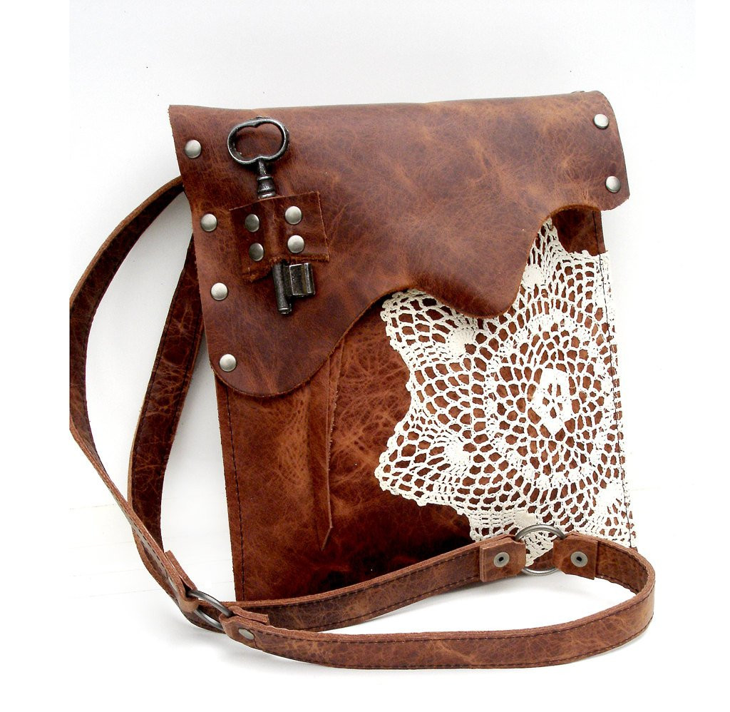 Leather Boho Messenger Bag with Crochet Doily and Antique Key