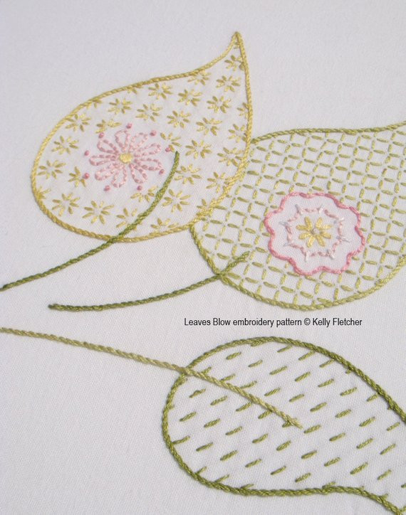 leaves blow modern hand embroidery