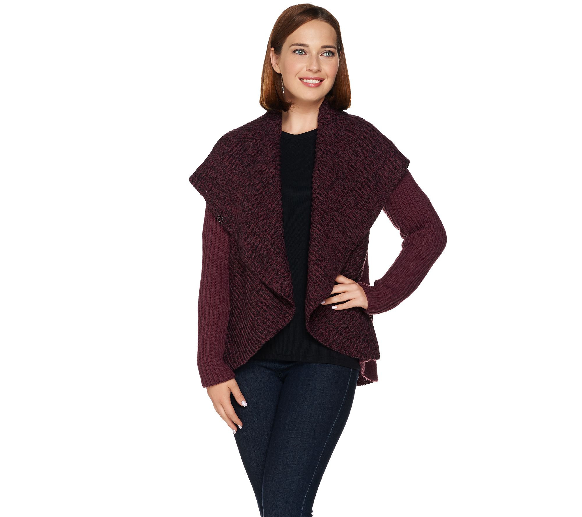 Best Of Lisa Rinna Collection Open Front Shawl Collar Wrap Sweater Women's Knitted Vest Patterns Of Amazing 48 Ideas Women's Knitted Vest Patterns