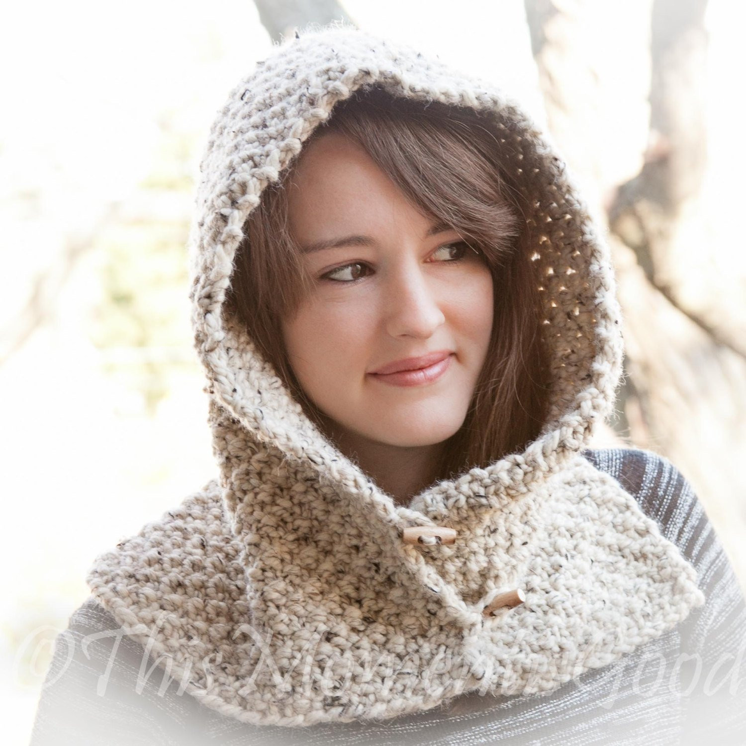 loom knit hood with cowl pattern child