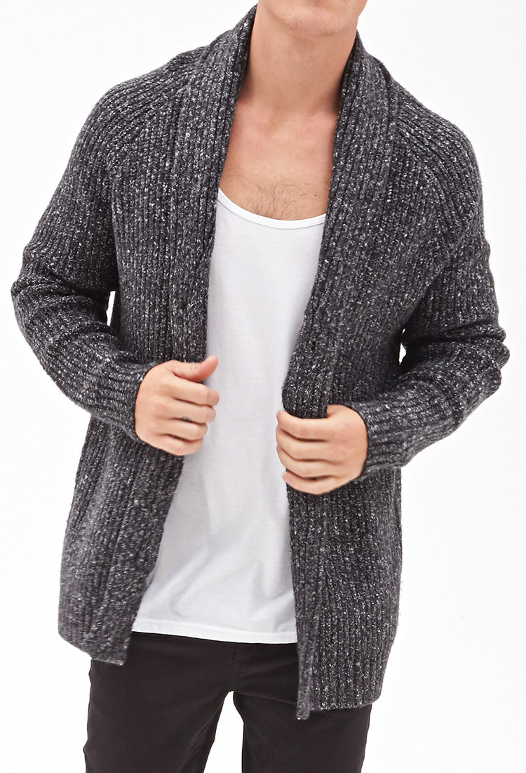 Lyst Forever 21 Cable Knit Cardigan in Gray for Men