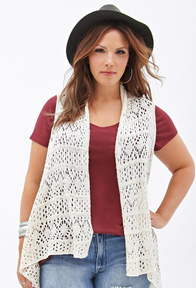 Best Of Lyst forever 21 Plus Size Crocheted Open Front Vest In Crochet Vest Plus Size Of Beautiful 45 Pics Crochet Vest Plus Size