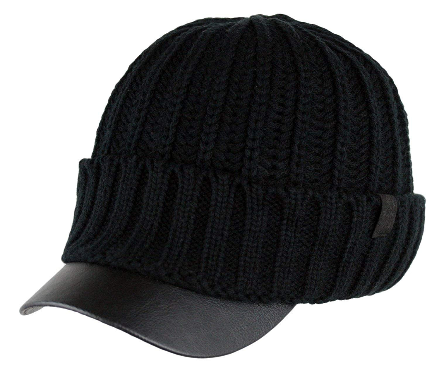 Best Of Men S Winter Visor Beanie Knitted Hat with Faux Leather Mens Knit Caps Of Delightful 41 Ideas Mens Knit Caps